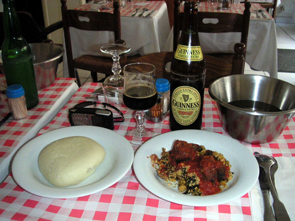 Pounded Yam and Egusi Soup & Stew with One Cold bottle of Stout