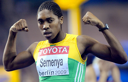 Caster Semenya Celebrating after winning 800m race