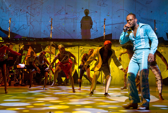 Sahr Ngaujah as Fela with cast of dancers