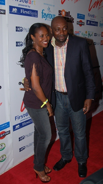 Segun Arinze and wife
