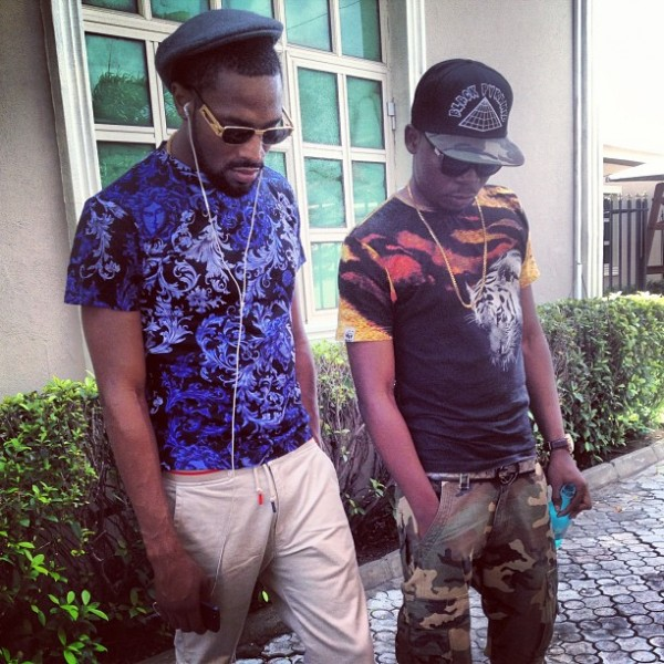 Dbanj & Olamide on set of a video shoot