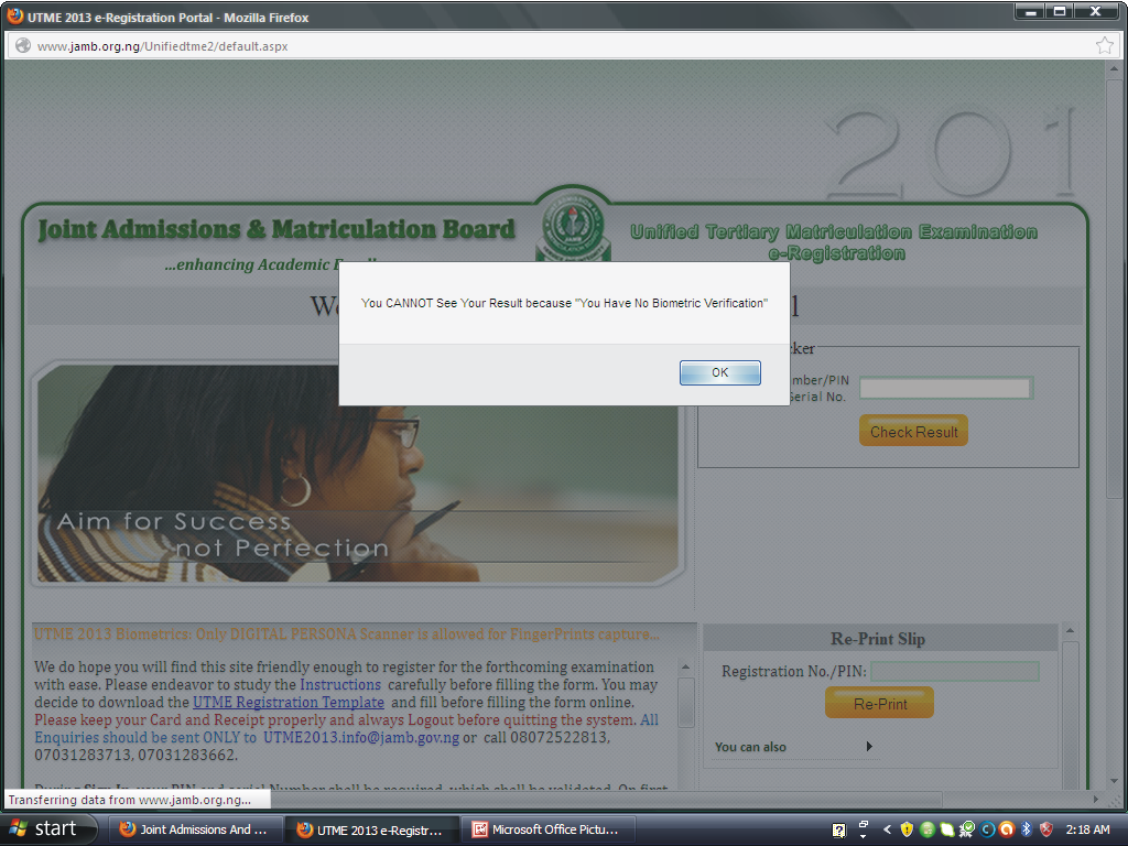 Message shown on JAMB website for lack of verification
