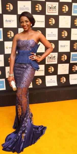 Genevieve Nnaji wearing a dress by Deola Sagoe