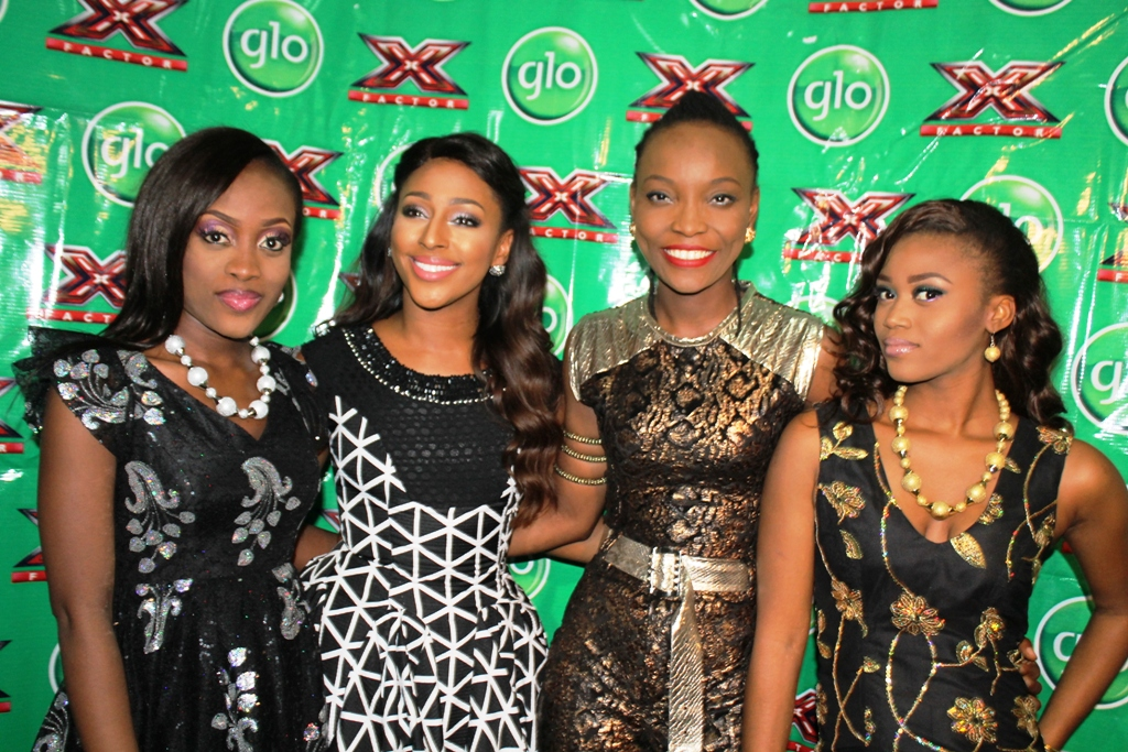 (L-R): 2nd runner up in the Glo X Factor singing reality show, Vicky; 2008 winner of UK X Factor, Alexandra Burke, winner of Glo X Factor, DJ Switch, and 1st runner-up, Eshun, at the grand finale of the show in Lagos.