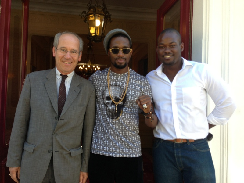Hennessy Ambassador, Cyrille Gautier-Auriol, Hennessy Artistry 2013 Headliner, Dbanj and Brand Manager, Moet Hennessy, Lere Awokoya at the Chateau De Bagnolet, the home of Hennessy in Cognac, France today, September 4, 2013