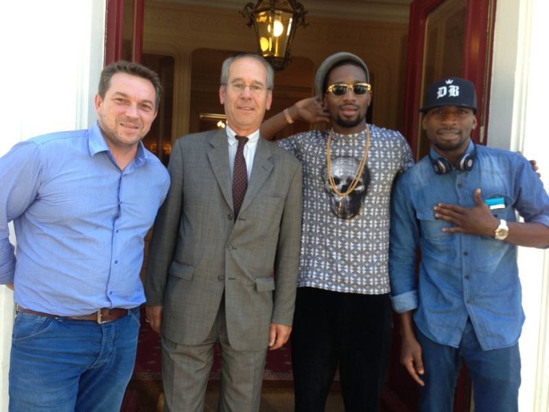 Marketing Manager, Moet Hennesy, David Hourdry, Hennessy Ambassador, Cyrille Gautier-Auriol, Hennessy Artistry 2013 Headliner, Dbanj and brother, Kay Switch at the Chateau De Bagnolet, the home of Hennessy in Cognac, France