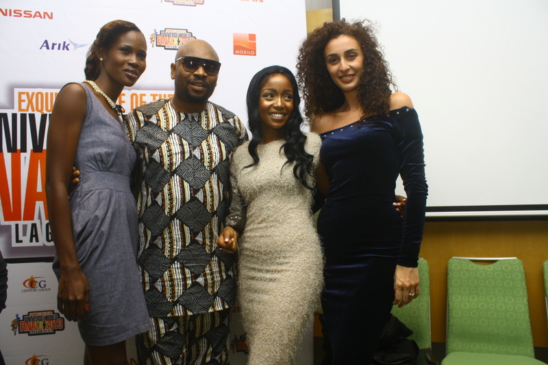 Miss Ghana, Addo Nana Adadewa, Comedian Steve Onu, Miss Kenya Vicky Nyari- Wilson and Miss Russia, Meri Asatiani at the Exquisite Face pageant launch at Radisson Blu on Sept 15, 2013.