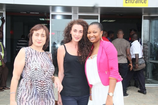 Miss Russia's Manager, Rusbaeva Dared Zhan, Miss Russia Meri Asatiani and Ethel Okosun.