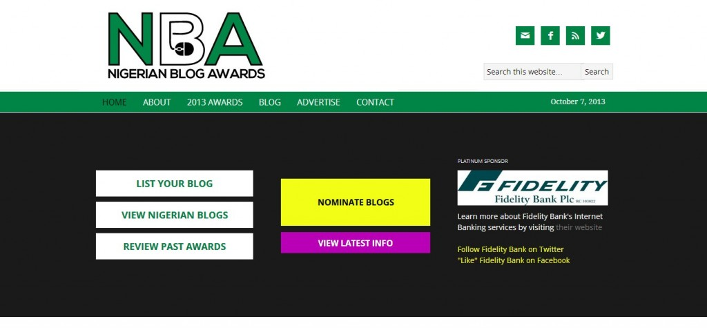 Nigerian Blog Awards - front page