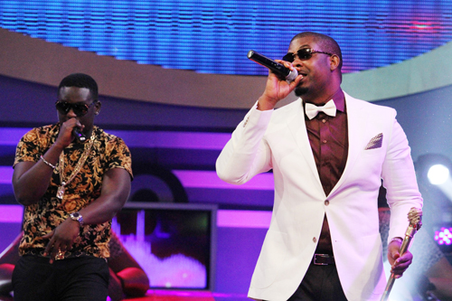 Wande and Don Jazzy performing at Big Brother Chase premiere