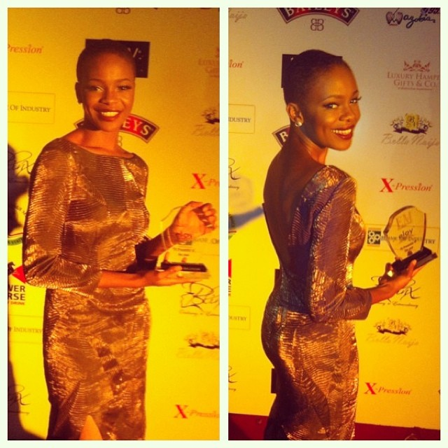 Zainab Balogun posing with award