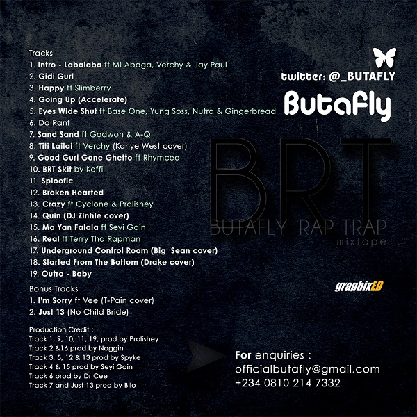 Butafly - BUTAFLY RAP TRAP [BRT] Mixtape Artwork...back