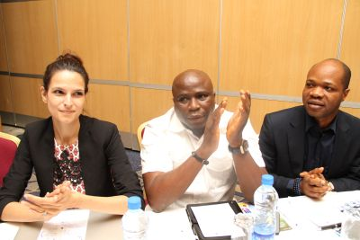 CEO Reloaded magazine Jenny Tan, Gbenga Adeyinka and MTN Manager high value Mr. Kelvin Orifa