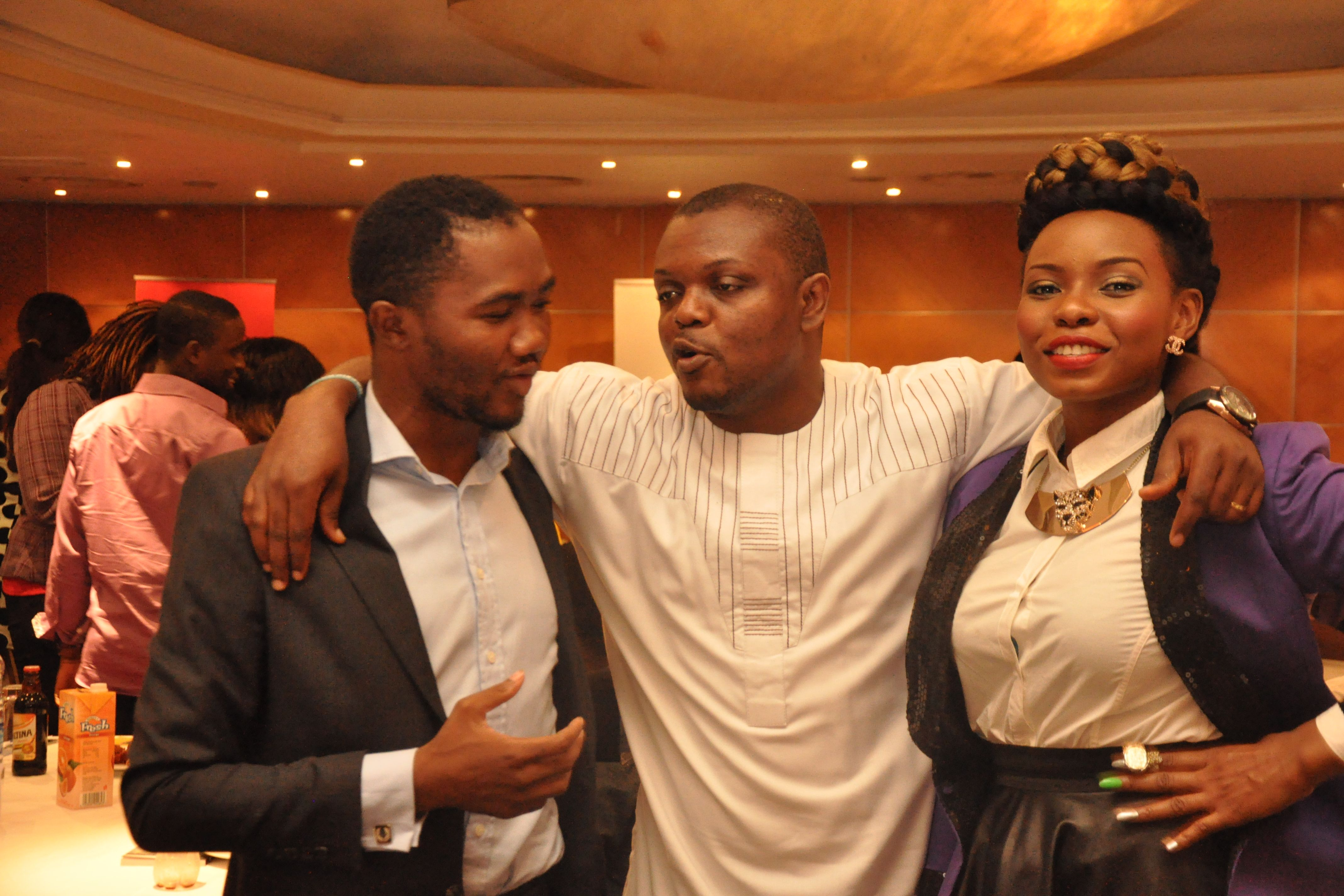 (1) Yemi Alade, MC Ice Water and Comedian Head Master at the new media Africa symposium