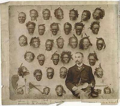 Lord Lugard posing with decapitated African heads following a revolt.. This is one of the people we're celebrating, and his ideals (via the British Govt) of exploiting Nigeria for its resources