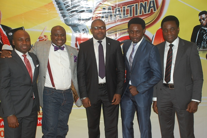 L-R Marketing Mgr Non Alcoholic Drinks Sampson Oloche,Gbenga Adeyinka CEO Corp ... ,Ayodeji Makun CEO Laughter Inc,& Senior Brand Mgr Maltina,Mr Wole Adedeji