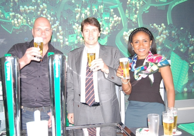 L-R Ngozi Nkwoji Snr Brand Mgr Heineken,Marketing Director NB Walter Drenth&Franck Evers Global Draught Master