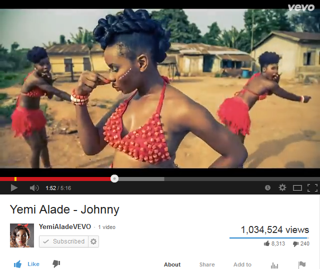 Yemi Alade VeVo Screenshot