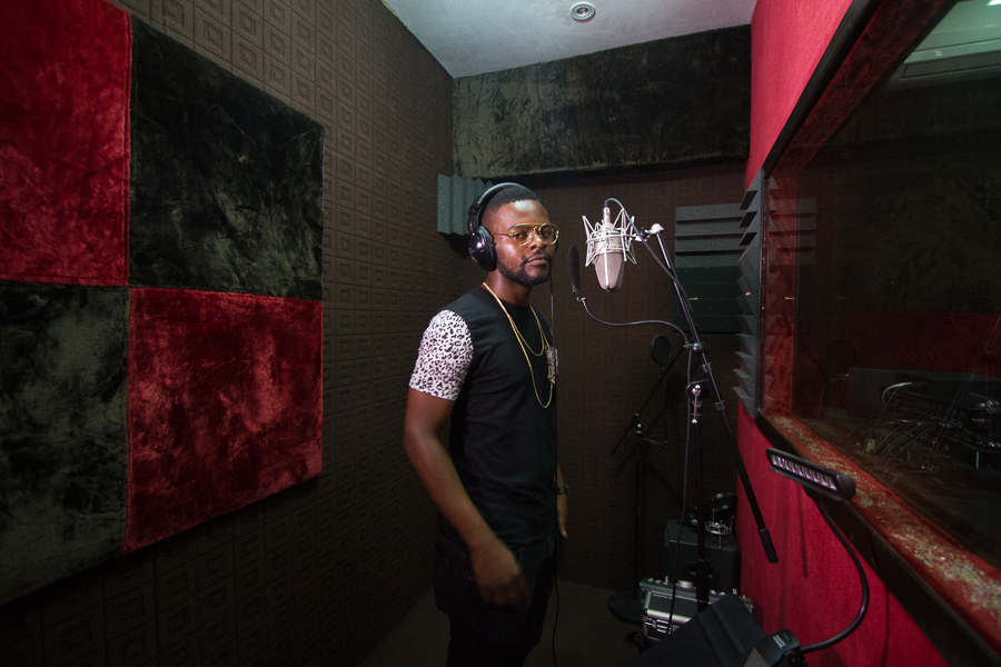 Falz in the recording booth